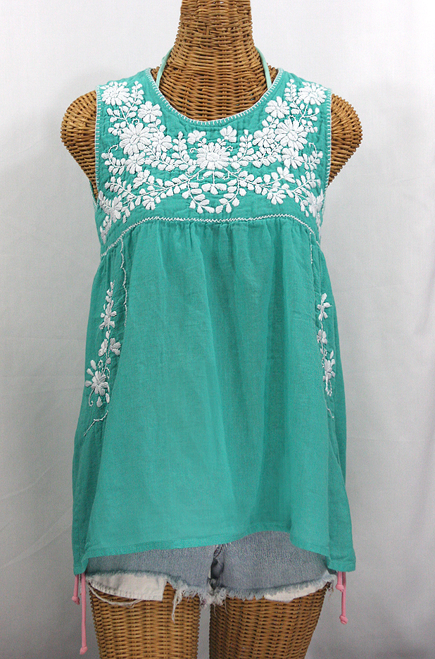 """La Pasea"" Embroidered Mexican Style Peasant Top -Mint Green + White"
