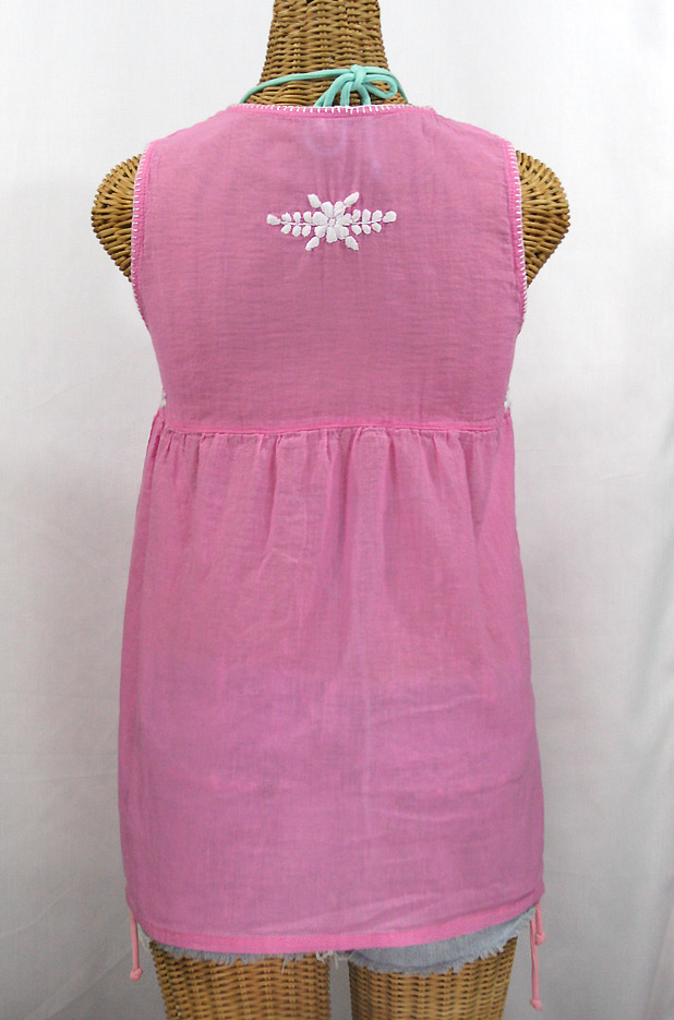 """""""La Pasea"""" Embroidered Mexican Style Peasant Top -Bubblegum Pink + White"""