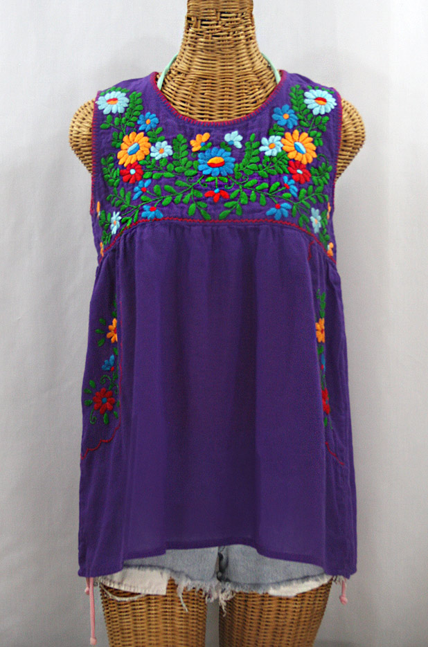 """La Pasea"" Embroidered Mexican Style Peasant Top - Purple + Fiesta"