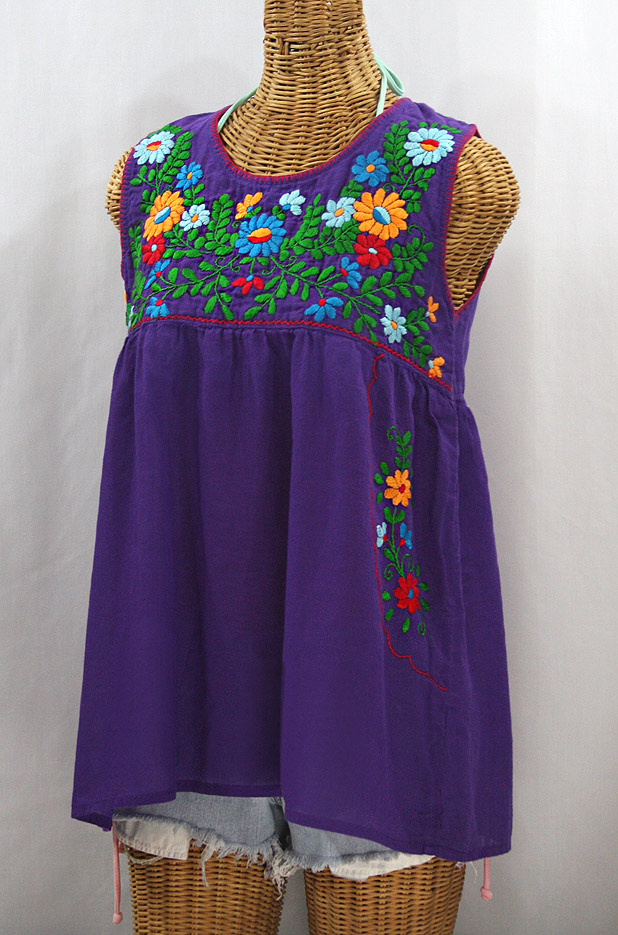 """La Pasea"" Embroidered Mexican Style Peasant Top - Purple + Fiesta"