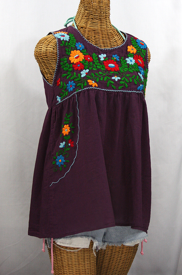 """""""La Pasea"""" Embroidered Mexican Style Peasant Top - Plum + Fiesta"""