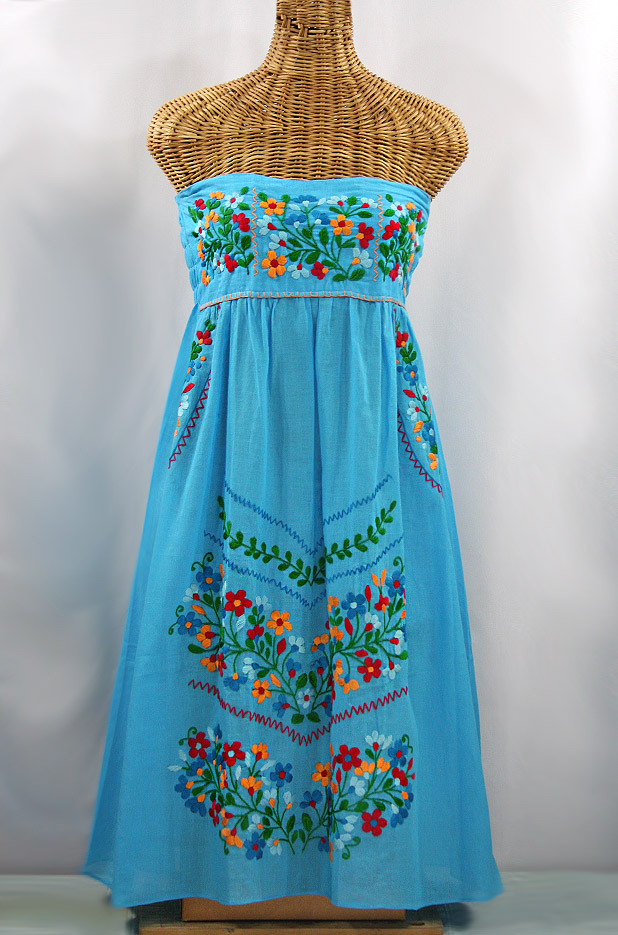 """""""La Pasiflora"""" Embroidered Strapless Sundress - Aqua + Multi"""