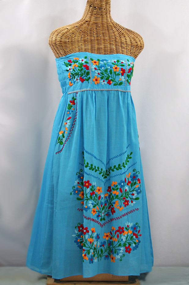 """La Pasiflora"" Embroidered Strapless Sundress - Aqua + Multi"