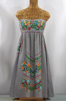 "60% Off Final Sale ""La Pasiflora"" Embroidered Strapless Sundress - Grey + Multi"