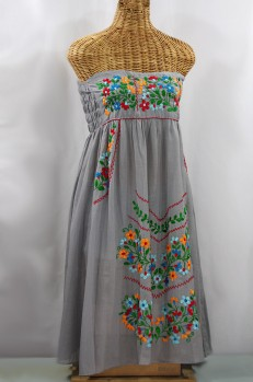 "60% Off Final Sale ""La Pasiflora"" Embroidered Strapless Sundress - Grey + Multi"