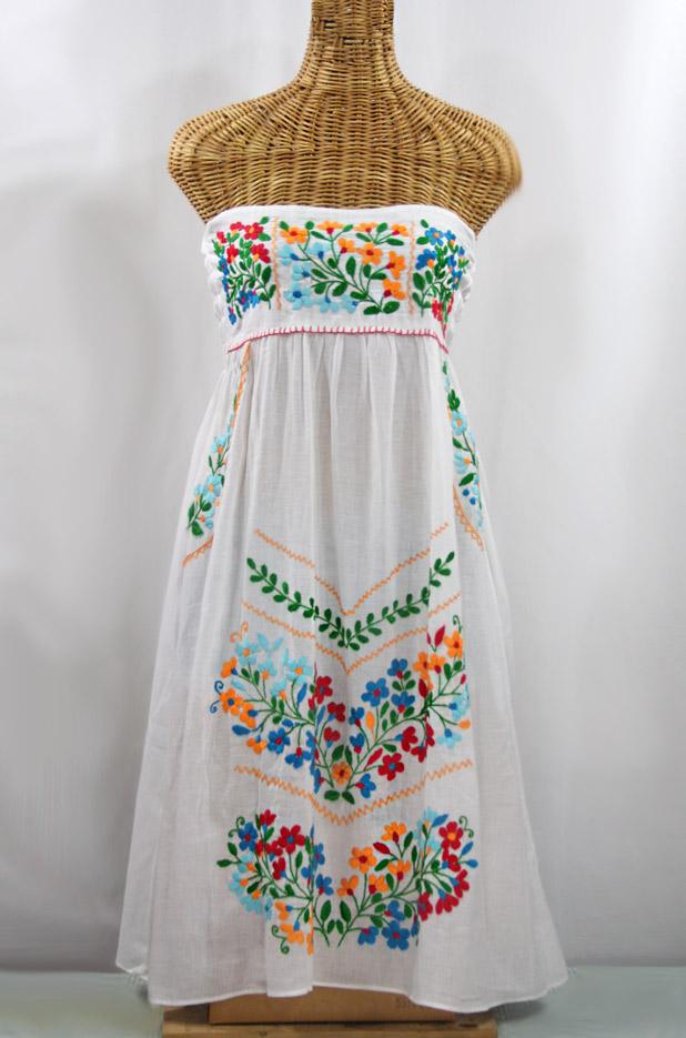 """60% Off Final Sale """"La Pasiflora"""" Embroidered Strapless Sundress - White + Multi"""
