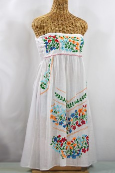 "60% Off Final Sale ""La Pasiflora"" Embroidered Strapless Sundress - White + Multi"