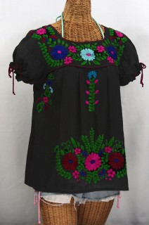 """La Poblana"" Puff-Tie Short Sleeve Embroidered Mexican Style Peasant Top - Black"