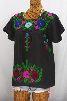 """La Poblana"" Embroidered Mexican Style Peasant Top - Black"