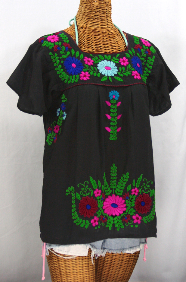 """La Poblana"" Embroidered Mexican Style Peasant Top - Black"