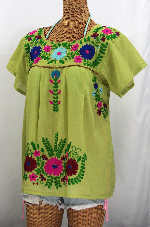 """""""La Poblana"""" Embroidered Mexican Style Peasant Top - Moss Green"""