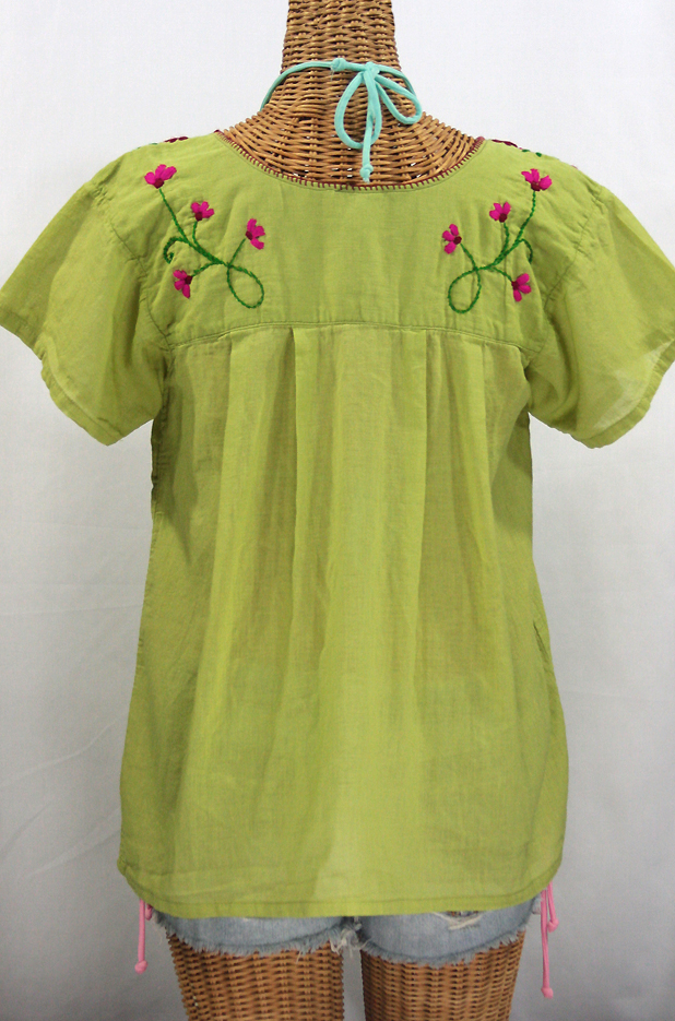 """La Poblana"" Embroidered Mexican Style Peasant Top - Moss Green"