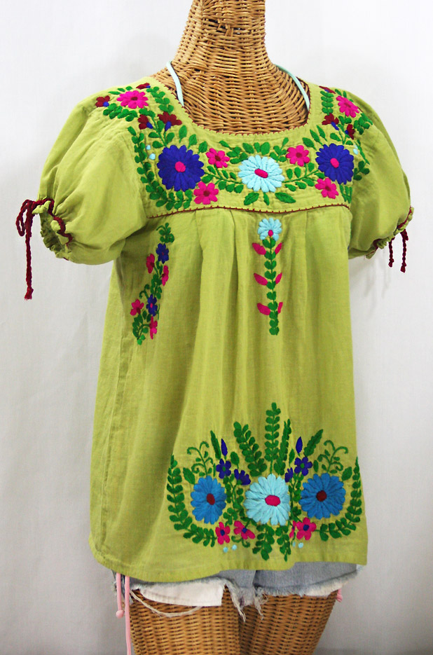 """La Poblana"" Puff-Tie Short Sleeve Embroidered Mexican Style Peasant Top - Moss Green"