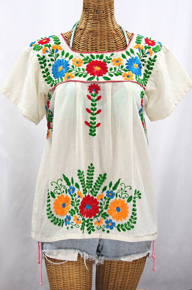 """La Poblana"" Embroidered Mexican Style Peasant Top - Off White + Fiesta"