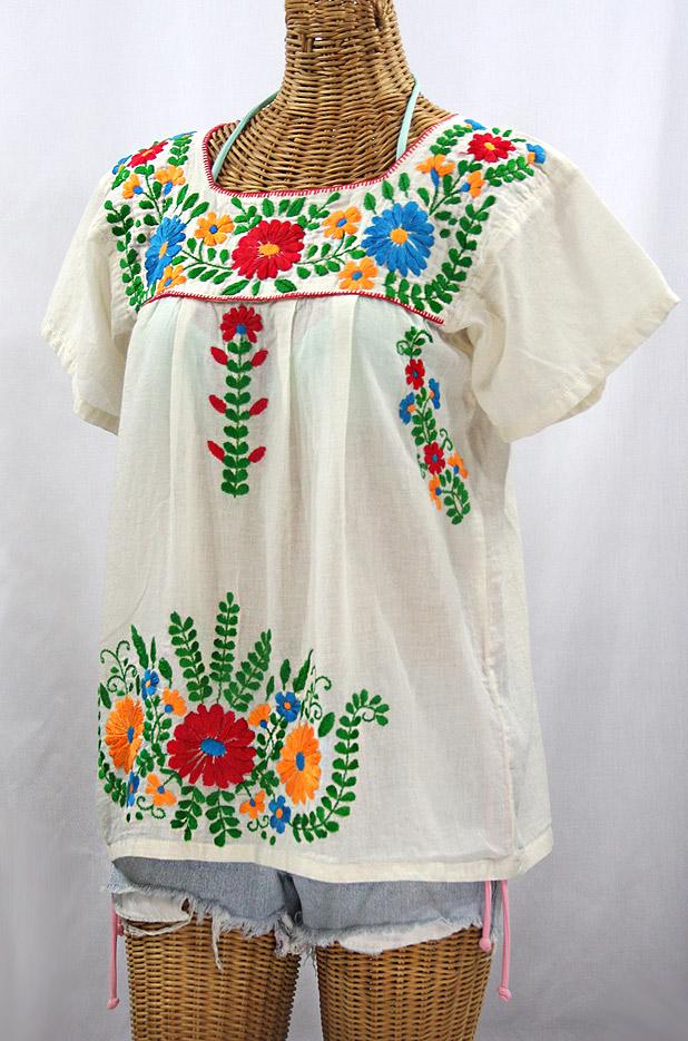 """La Poblana"" Embroidered Mexican Style Peasant Top - Off White + Fiesta"