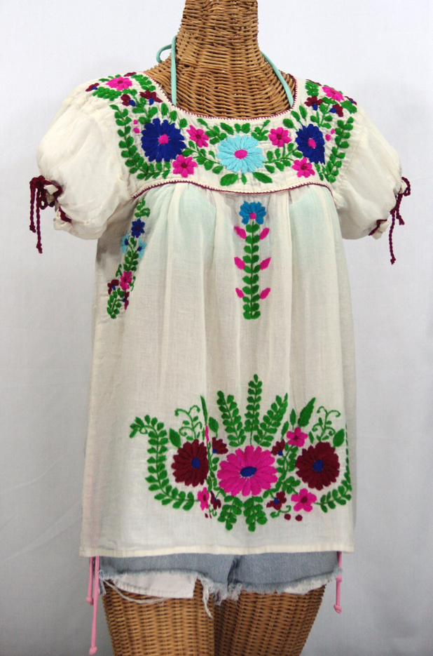 """""""La Poblana"""" Puff-Tie Short Sleeve Embroidered Mexican Style Peasant Top - Off White"""