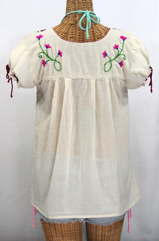 """La Poblana"" Puff-Tie Short Sleeve Embroidered Mexican Style Peasant Top - Off White"