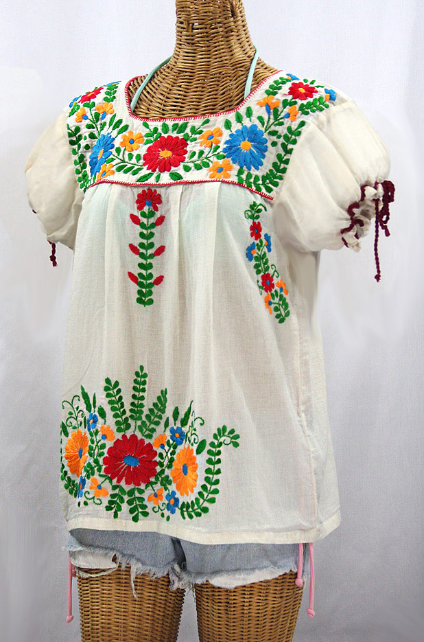 """""""La Poblana"""" Puff-Tie Short Sleeve Embroidered Mexican Style Peasant Top - Off White + Fiesta"""