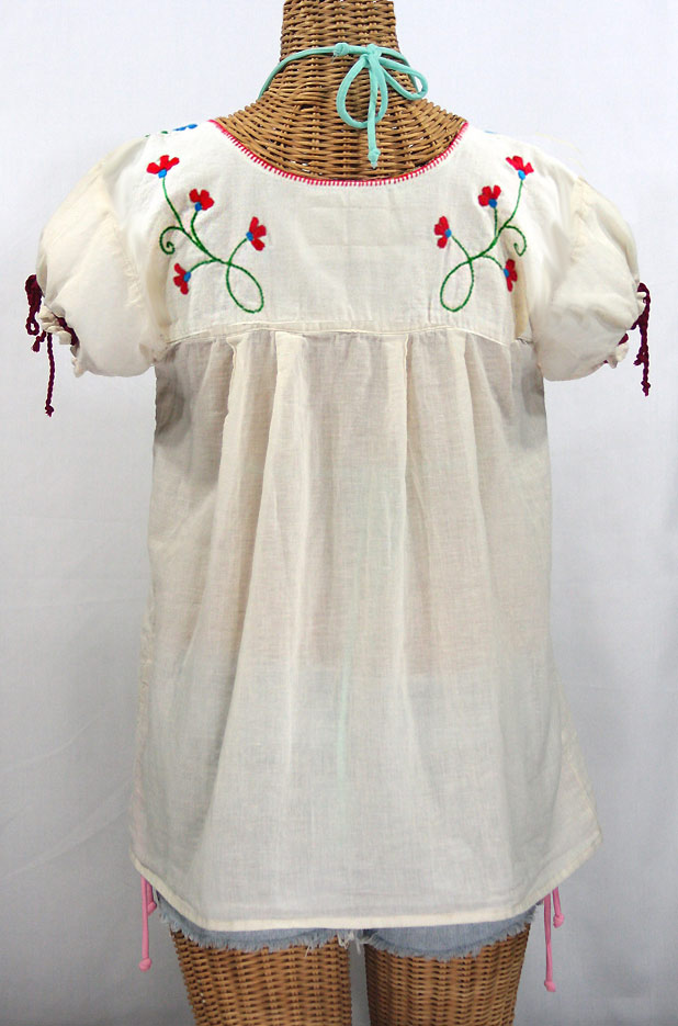 """La Poblana"" Puff-Tie Short Sleeve Embroidered Mexican Style Peasant Top - Off White + Fiesta"