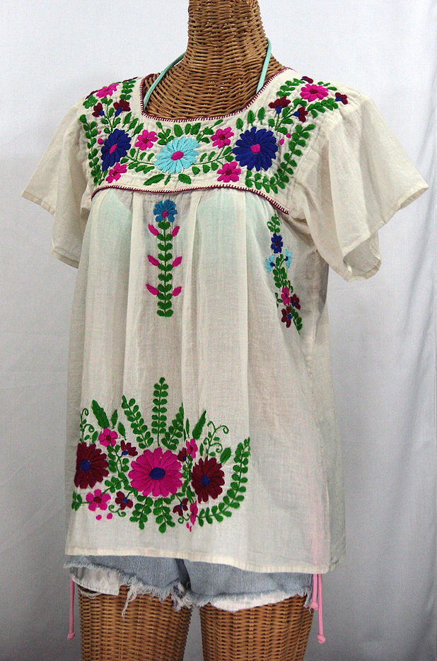 """""""La Poblana"""" Embroidered Mexican Style Peasant Top - Off White"""
