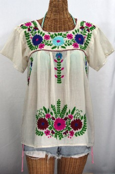 """La Poblana"" Embroidered Mexican Style Peasant Top - Off White"