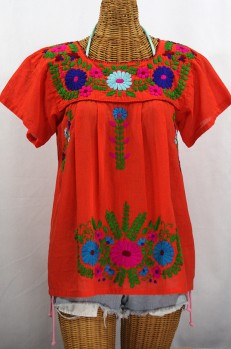 """La Poblana"" Embroidered Mexican Style Peasant Top - Orange"