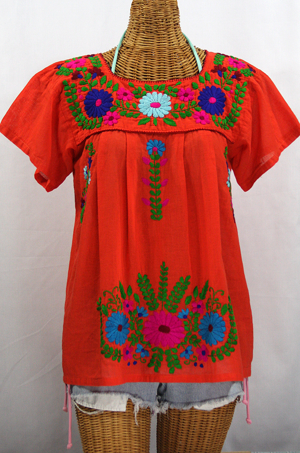 """La Poblana"" Embroidered Mexican Style Peasant Top - Orange"