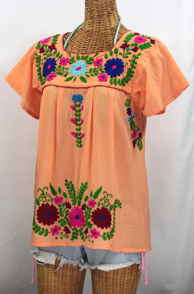 """""""La Poblana"""" Embroidered Mexican Style Peasant Top - Orange Cream"""