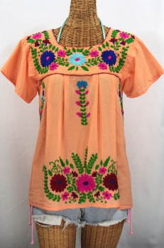 """La Poblana"" Embroidered Mexican Style Peasant Top - Orange Cream"