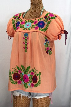 """La Poblana"" Puff-Tie Short Sleeve Embroidered Mexican Style Peasant Top - Orange Cream"