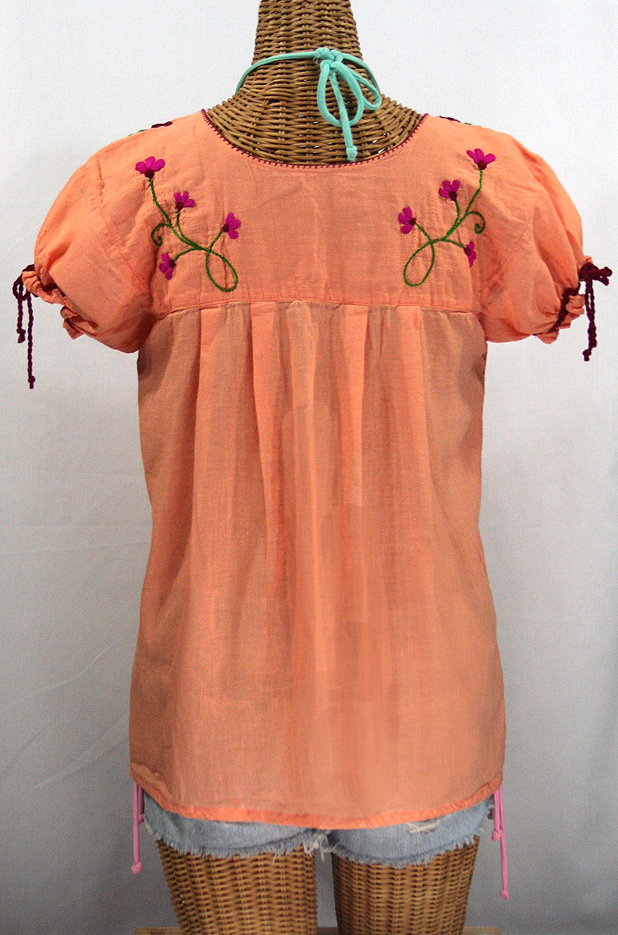 """La Poblana"" Puff-Tie Short Sleeve Embroidered Mexican Style Peasant Top - Orange Cream"