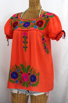 """""""La Poblana"""" Puff-Tie Short Sleeve Embroidered Mexican Style Peasant Top - Orange"""