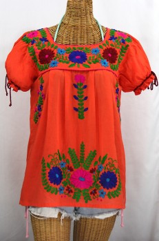 """La Poblana"" Puff-Tie Short Sleeve Embroidered Mexican Style Peasant Top - Orange"