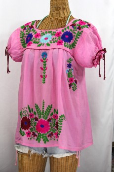 """""""La Poblana"""" Puff-Tie Short Sleeve Embroidered Mexican Style Peasant Top - Bubblegum Pink"""