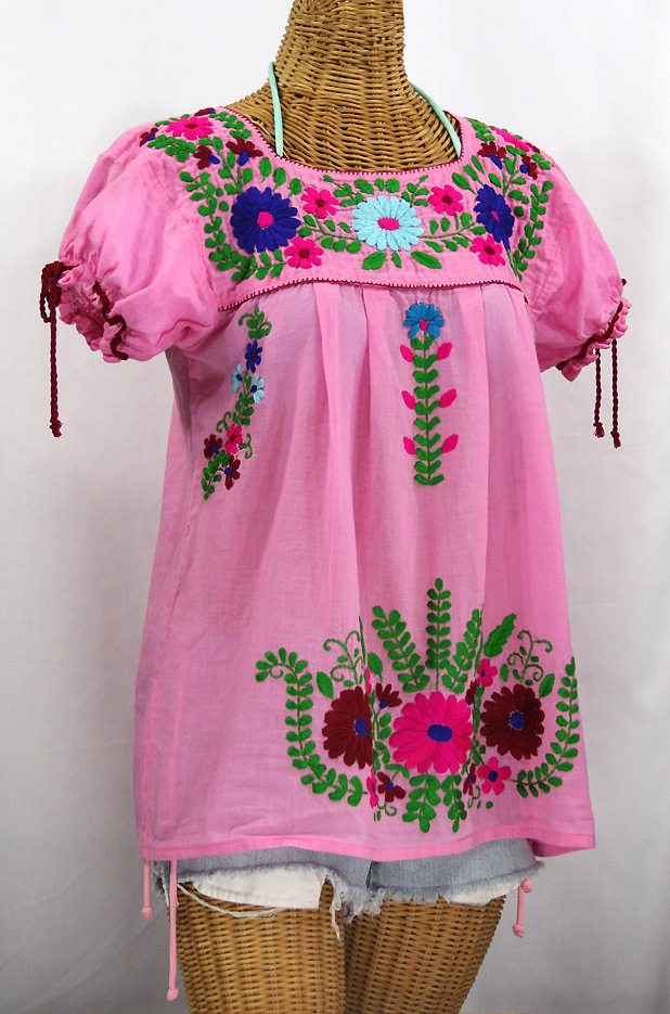 """La Poblana"" Puff-Tie Short Sleeve Embroidered Mexican Style Peasant Top - Bubblegum Pink"