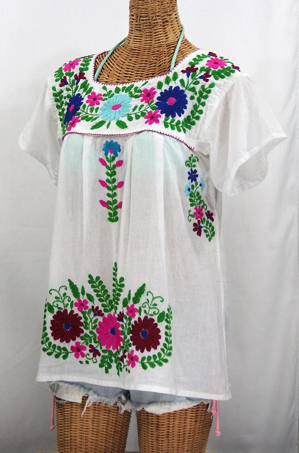"""La Poblana"" Embroidered Mexican Style Peasant Top - White"