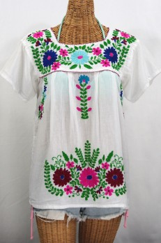 """La Poblana"" Embroidered Mexican Style Peasant Top - White"