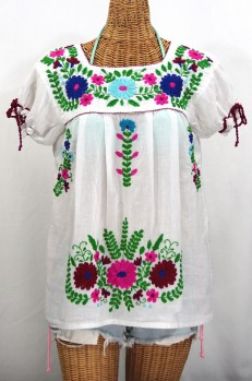 """""""La Poblana"""" Puff-Tie Short Sleeve Embroidered Mexican Style Peasant Top - White"""