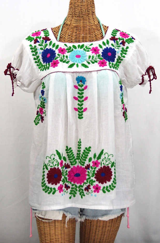 """La Poblana"" Puff-Tie Short Sleeve Embroidered Mexican Style Peasant Top - White"