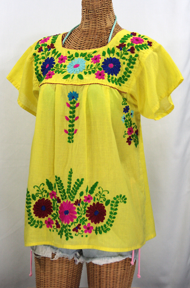 """La Poblana"" Embroidered Mexican Style Peasant Top - Yellow"