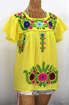 """""""La Poblana"""" Embroidered Mexican Style Peasant Top - Yellow"""