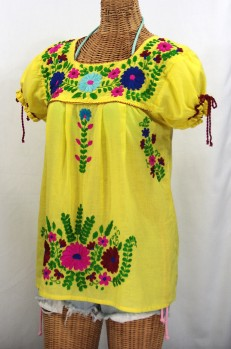 """""""La Poblana"""" Puff-Tie Short Sleeve Embroidered Mexican Style Peasant Top - Yellow"""