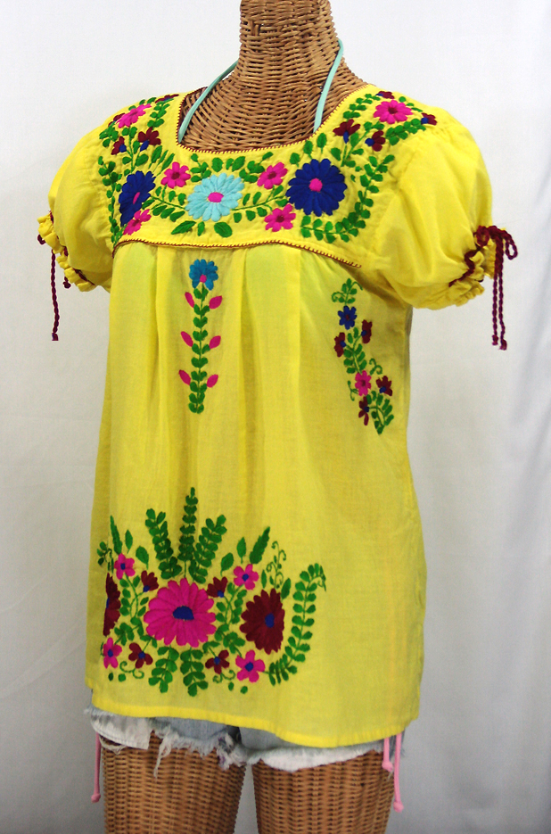 """La Poblana"" Puff-Tie Short Sleeve Embroidered Mexican Style Peasant Top - Yellow"