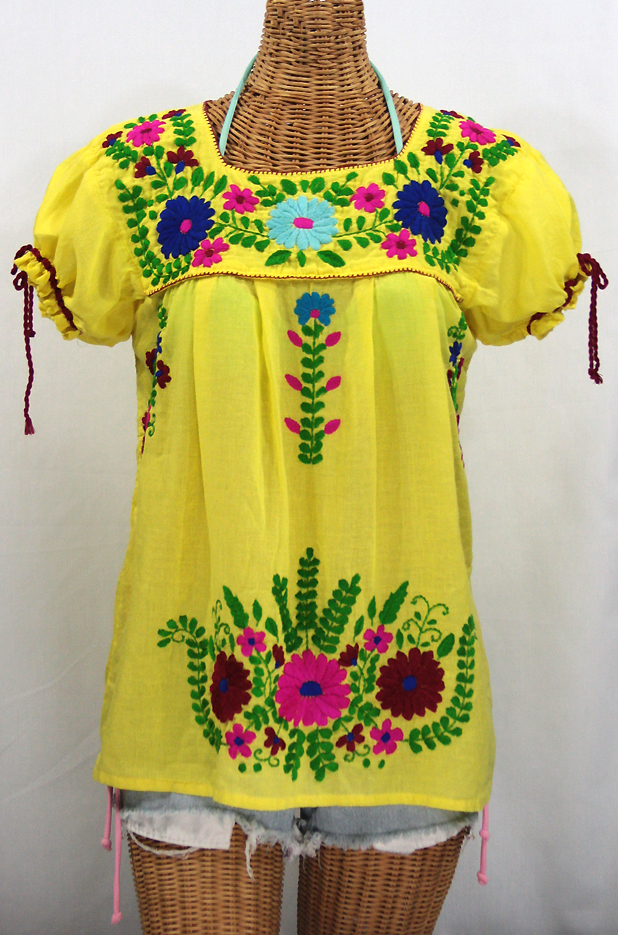 """La Poblana"" Puff-Tie Short Sleeve Embroidered Mexican ..."