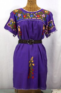"""La Primavera"" Embroidered Mexican Dress - Purple"