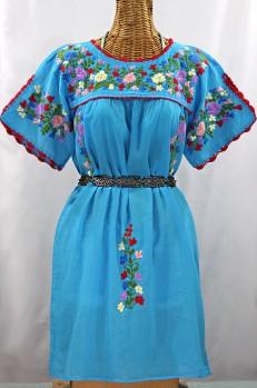 """La Primavera"" Embroidered Mexican Dress -Aqua"