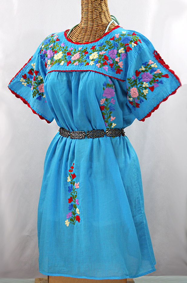 """La Primavera"" Embroidered Mexican Dress -Aqua"