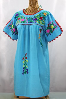 """La Primavera"" Embroidered Mexican Dress -Aqua + Rainbow"
