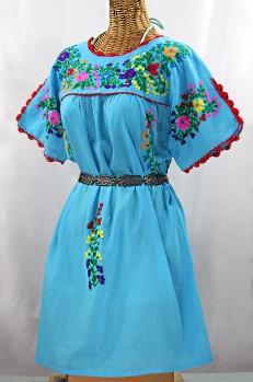 """La Primavera"" Embroidered Mexican Dress -Aqua + Rainbow"