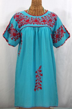 """La Primavera"" Embroidered Mexican Dress - Aqua + Red"